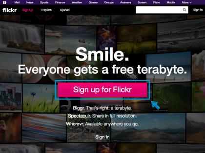 flickrのサイトトップ