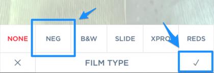 FILM TYPEメニューの内容